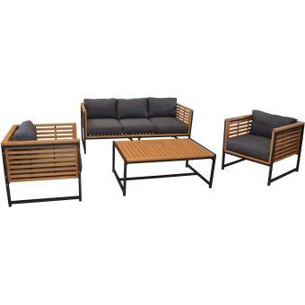 Salon de jardin en aluminium et eucalyptus vegas - Mobilier de ...
