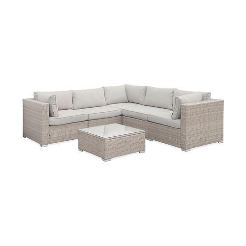 Salon de jardin en résine tressée - Napoli - Beige Coussins Beige - 5 places - 2 fauteuils sans accoudoir 3 fauteuils d'angle une table basse