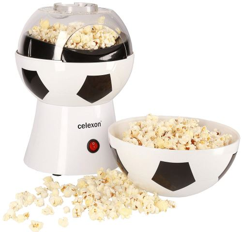 celexon machine à Popcorn CinePop SP10-20x20x29cm - Poids:1,2kg - blanc/design football - sans huile/faible en graisse - Popcorn-Maker