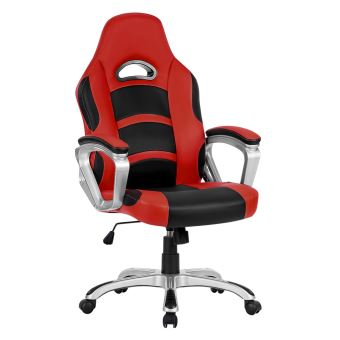 fauteuil de bureau langria racing pour gamer en faux cuir rouge noir achat prix fnac. Black Bedroom Furniture Sets. Home Design Ideas