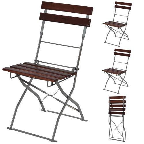 Chaise de jardin ou de brasserie Berlin, LOT DE 4, pliable, acacia, 120x60x70cm ~ brun foncé