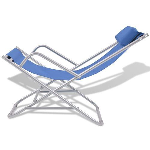 Vidaxl De 2 Acier Bleu Chaises Terrasse Pcs Inclinables 0vm8ywONnP