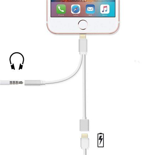2 en 1 Adaptateur pour iPhone Adaptateur de Casque,Adaptateur Jack pour iPhone Adaptateur de Charge//Adaptateur de Casque-Blanc /Écouteur Audio + Charge +T/él/éphonique + Volume Contr/ôle