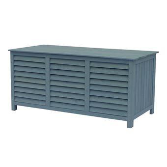 coffre de jardin en bois macao - 130 x 64 x 60 cm - bleu ciel