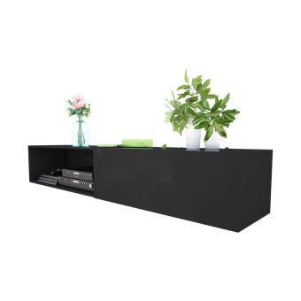 Meuble tv leo 200 cm noir mat noir brillant avec led meuble tv achat prix fnac - Meuble tv noir mat ...
