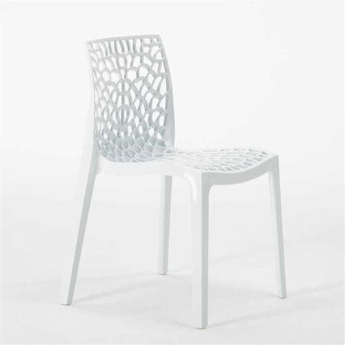 Chaise en polypropylène empilable salle à manger bar café GRUVYER nid d'abeille Grand Soleil, Couleur: Blanc