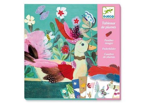 Tableaux de plumes duvets chics - kit créatif djeco 6-11 ans