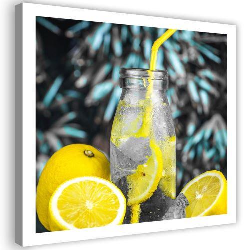 Tableau Cadre Image sur toile Impression Art Canevas Boisson Citrons 90x90