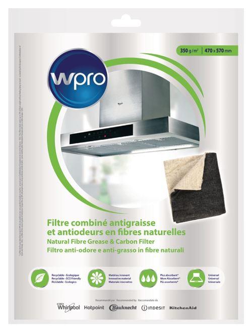 WPRO Filtre à charbon et à graisse pour hotte de cuisinière, 57 cm x 47 cm
