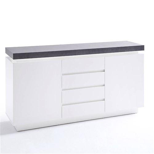 Buffet ATLANTIS laqué blanc mat et béton 2 portes 4 tiroirs LED blanc inclus
