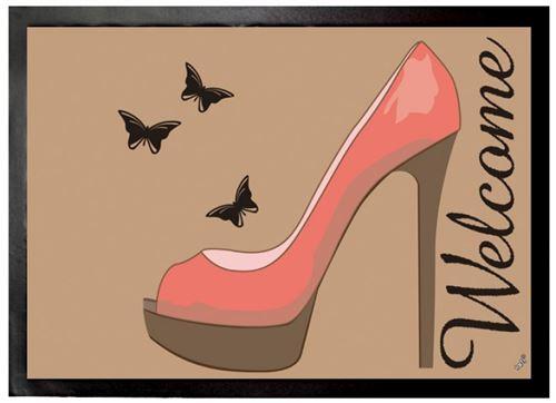 Chaussures Paillasson Essuie-Pieds - Haut Talon Rouge Et Papillon, Bienvenues (50x70 cm)