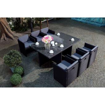 Le Vito : Salon Jardin Noir Encastrable En Résine 6 Personnes
