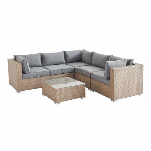 Salon de jardin en résine tressée - Napoli - Beige Coussins Gris clair chiné - 5 places - 2 fauteuils sans accoudoir 3 fauteuils d'angle une table basse