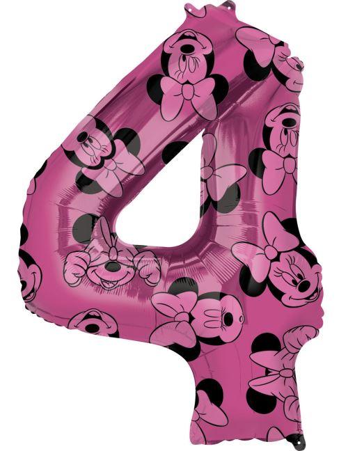 Amscan ballon d'aluminium Minnie Mouse 4 ans junior 45 x 66 cm rose