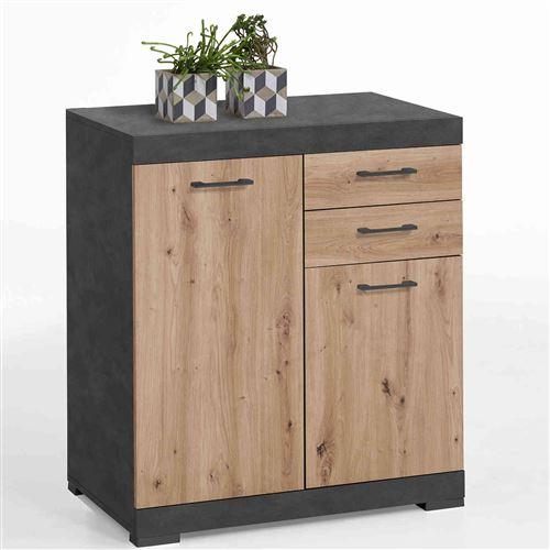 Commode 2 portes 2 tiroirs en bois imitation chêne clair et anthracite - CO13003