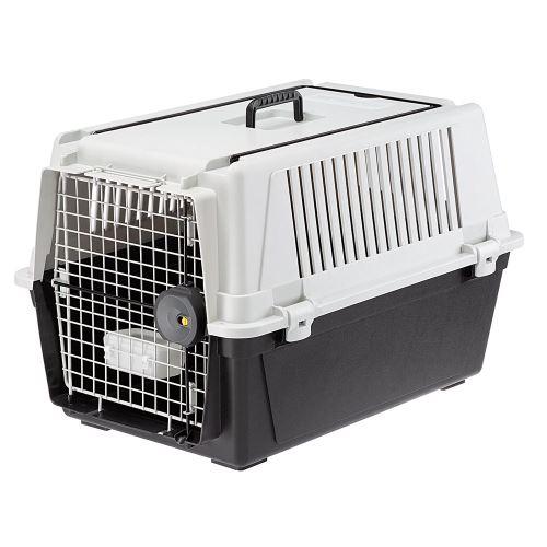 Ferplast Transport pour chiens de taille moyenne ATLAS 40 PROFESSIONAL, Box pour le transport d'animaux avec abreuvoir inclus, porte en acier plastifié, système fermeture de sécurité, grilles d'aération, 49 x 68 x h 45,5 cm Gris