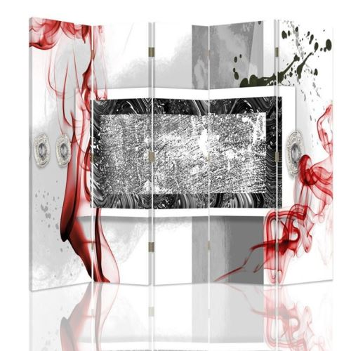 Feeby Paravent 5 panneaux une face Diviseur de pièce déco intérieur, Abstraction Blanc Rouge Noir 180x180 cm