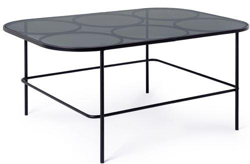 Table d'appoint en acier et verre trempé coloris noir - L.91.5 x P.61.5 x H.40 cm -PEGANE-