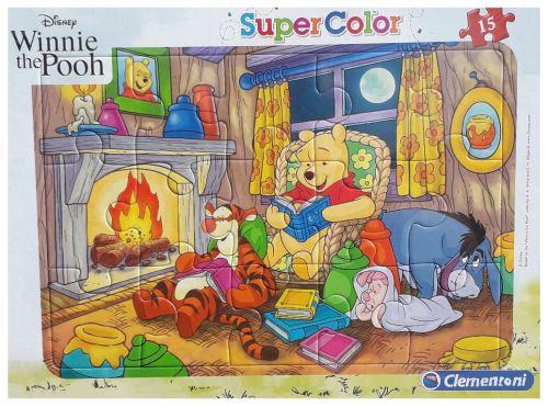 Puzzle avec cadre winnie tigrou bourriquet porcinet au coin du feu - 15 pieces - enfant - disney