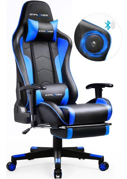 GTRACING Chaise Gaming de Bureau Fauteuil de Bureau Chaise Gamer Music avec Haut-Parleur Bluetooth, Réglable en Hauteur Design Ergonomique avec Repose-Pieds et Fonction Bascule