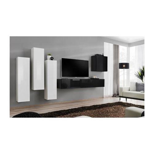 Ensemble meuble salon SWITCH III design, coloris noir et blanc brillant.
