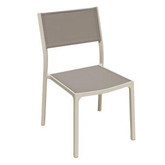 Chaise en alu ivoire textilène taupe léda - Mobilier de Jardin ...