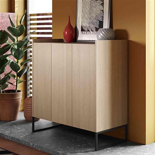 Commode 3 portes en bois et métal imitation chêne clair - CO0026