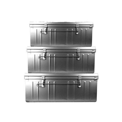 Pierre Henry - Set de 3 malles en acier Habitat 80 - 90 et 100 cm Alu