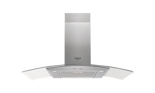 Hotpoint Ariston HHGC 9.7F LB X - Hotte - hotte décorative - largeur : 90 cm - profondeur : 45 cm - evacuation & recyclage - acier inoxydable