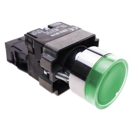 Bouton poussoir momentané 22mm 1NC 400V 10A normalement fermé avec lumière LED vert