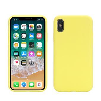 Coque en silicone bord enroule mou jaune pour votre Apple iPhone X