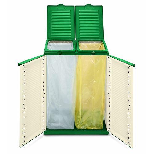 Meuble poubelle 68 x 39 x h89 cm 2 portes sacs tri des déchets Terry