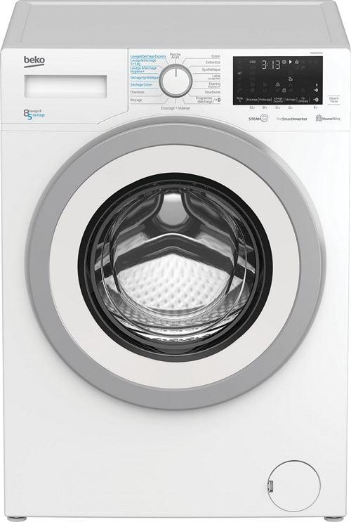 Beko HWD8527SW - Machine à laver séchante - indépendant - largeur : 60 cm - profondeur : 59 cm - hauteur : 84 cm - chargement frontal - 55 litres - 8 kg - 1200 tours/min - blanc