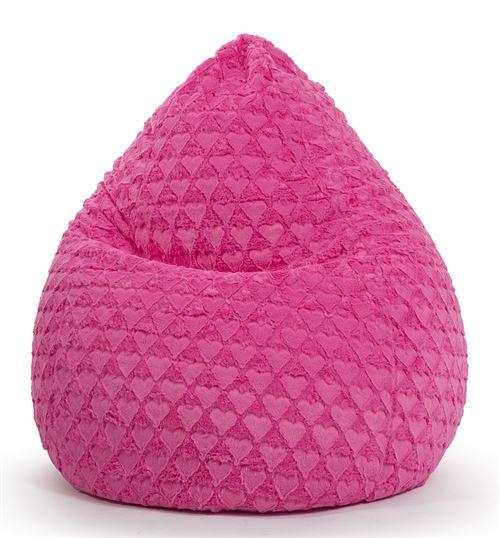 Pouf Fluffy Hearts XL fushia