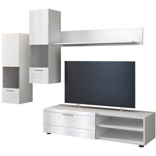 MANILA | Ensemble meuble TV moderne salon/séjour 5 éléments | Mur TV avec rangements | Meuble bas + 2 vitrines/colonnes + étagère | Blanc