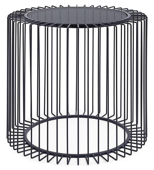 Table d'appoint en acier et verre trempé coloris noir - Ø50 x H.48 cm -PEGANE-