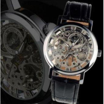 Homme Mecanique Montre Squelette Bracelet Watch Automatique Cuir JlKuFc31T5