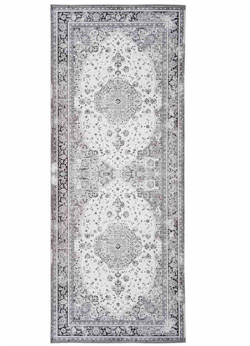 Tapis de couloir en polyester coloris noir et blanc - 80 x 200 x 1 cm -PEGANE-