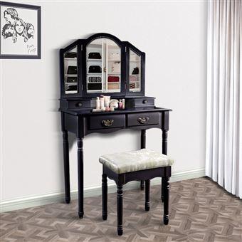 228 sur coiffeuse meuble maquillage victorien avec 3 miroirs noir achat prix fnac