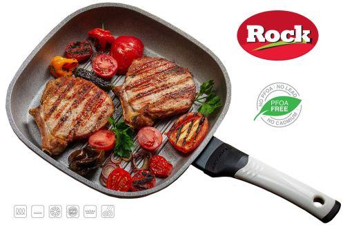 Oursson Poêle ROCK Grill Céramique Ecologique, 27х27 cm | Convient pour Tous Les Fours de Cuisson : gaz, électrique, induction & céramique, Blanc, PF2753P/IV