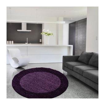 LIFE Tapis de salon shaggy rond ~160 cm - Violet - Achat ...