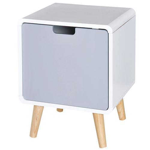 Table de nuit design scandinave 40L x 38l x 50H cm placard bois massif pin MDF blanc bleu gris