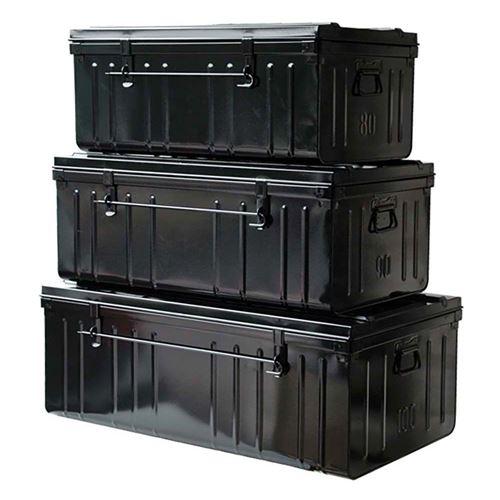 Pierre Henry - Set de 3 malles en acier Habitat 80 - 90 et 100 cm Noir