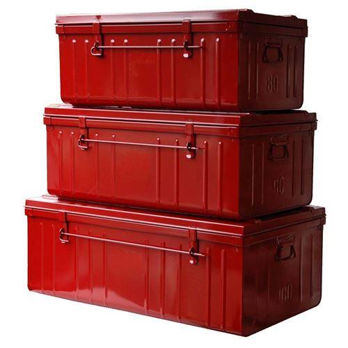 Pierre Henry - Set de 3 malles en acier Habitat 80 - 90 et 100 cm Rouge