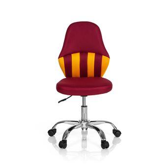Chaise de bureau enfant Chaise pivotante KIDDY STRIPE tissu rougejaune hjh OFFICE