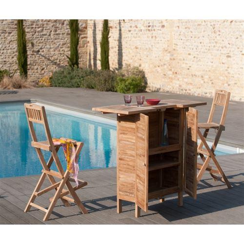 Chaise pliante de bar en bois teck grade A
