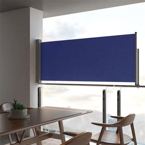 Auvent latéral rétractable de patio 100x300cm Bleu