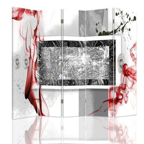 Feeby Paravent 5 panneaux deux faces Diviseur de pièce déco intérieur, Abstraction Blanc Rouge Noir 180x150 cm