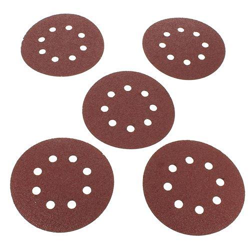 Abrasifs ronds d=125 40g par 5 pour Ponceuse Bosch, Ponceuse Ryobi, Ponceuse A.e.g, Ponceuse Mac allister, Ponceuse Metabo, Ponceuse Black & decker, P