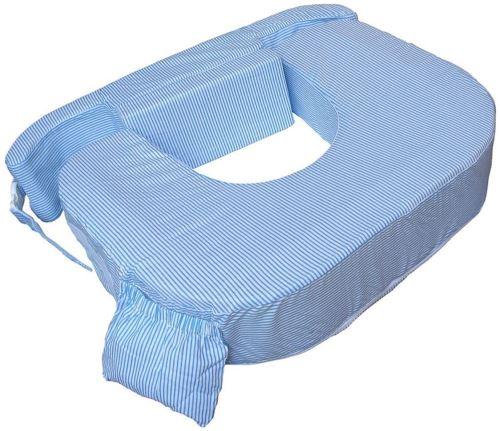 My Brest Friend 0027 Zwilling Plus Coussin de Soin pour allaiter Bleu/Rayures Blanches